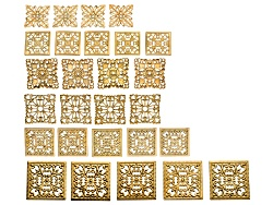 JSKIT0348A<br>Romance Square Design Elements Kit In Gold Tone Includes 27 Pieces Total Per Kit 6 Dif