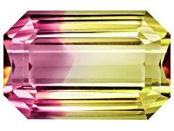 XTG3618<br>Californian Bi-color Tourmaline 12.58ct 17.29x11.31mm Emerald Cut Comes With S.G.L. Repor