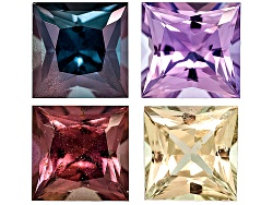 XTG3861<br>Untreated Set Of 4 Madagascan Multi Color Sapphire Collection 2.71ctw 4.7x4.7mm Princess