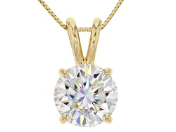 MSJ296<br>Moissanite Fire(R) 2.20ct Dew Round 14k Yellow Gold Pendant With 18 Inch Baby Box Chain
