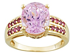 YCA086<br>5.00ct Oval Kunzite With .25ctw Round Pink Tourmaline 10k Yellow Gold Ring