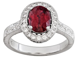 XTG4449<br>Burmese Red Spinel 1.77ct Oval With Diamond .41ctw 18k White Gold Ring S.G.L. Report By C