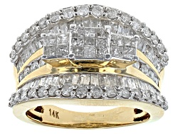 OJR033Y<br>2.02ctw Round, Baguette, And Princess Cut Diamond 14k Yellow Gold Quad Ring