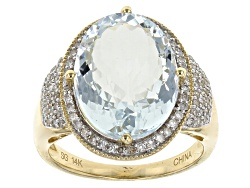 GOA071<br>6.50ct Oval Nigerian Aquamarine With .36ctw Round White Diamonds 14k Yellow Gold Ring
