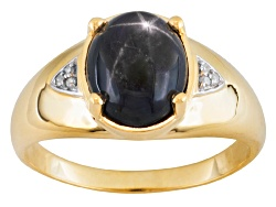 JHE002<br>5.78ct Oval Cabochon Blue Star Sapphire With .02ctw Round White Diamond 10k Yellow Gold Me