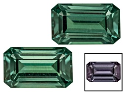 BGE044<br>Masasi Blue Color Change Garnet Matched Pair Of Min .75ctw Mm Varies Emerald Cut