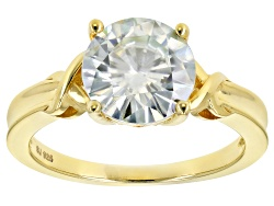 MSN505Y<br>Moissanite Fire(R) 3.60ct Dew Round 14k Yellow Gold Over Silver Solitaire Ring