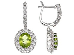DOCZ980<br>4.00ctw Oval Manchurian Peridot With 1.42ctw Round White Zircon Sterling Silver Earrings