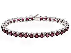 DOCZ987<br>16.16ctw Heart Shape Raspberry Rhodolite Sterling Silver Tennis Bracelet