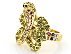 OPJ802R<br>Off Park (R) Collection Multicolor Crystal Gold Tone Snake Ring