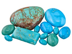 TR008<br>Kingman Turquoise Parcel Of 20.00ctw Mm Varies Mixed Shape Cabochon Tehya Oyama Turquoise(T