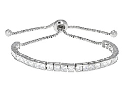 BMC022<br>Bella Luce (R) 9.30ctw Square Rhodium Over Sterling Silver Adjustable Bracelet