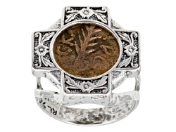 ISL267<br>Artisan Collection Of Israel(Tm) Festus Palm Branch Coin Sterling Silver Ring