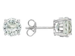 DOCY178<br>4.50ctw 100 Facet Round Prasiolite Solitaire Sterling Silver Stud Earrings
