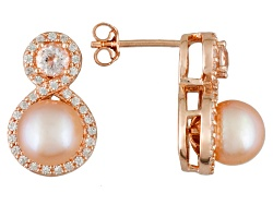 MPA146<br>7.5-8mm Cultured Freshwater Pearl & .4ctw Morganite & .5ctw Zircon 18k Rose Gold Over Silv