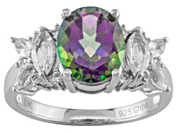MXH120<br>2.98ct Mystic(R) Green Topaz With .88ctw White Topaz Sterling Silver Ring