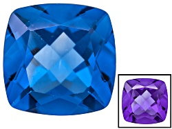 FL085<br>Color Change Blue Fluorite Minimum 14.00ct 14mm Square Cushion Mixed Cut