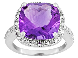 DOCY269<br>6.00ct Square Cushion Amethyst With .10ctw Round White Diamonds Sterling Silver Ring