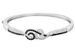 JPH098<br>.60ctw Round Black Spinel With .94ctw Round White Zircon Sterling Silver Hinged Bangle Bra