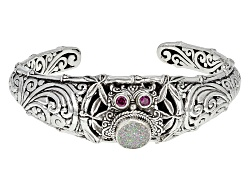 SRA436<br>Artisan Gem Collection Of Bali(Tm) 10mm Snow Drusy Quartz And .34ctw Rhodolite  Silver Owl