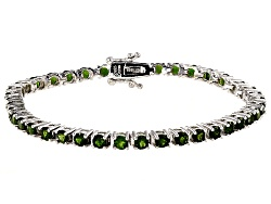 DOCY472<br>7.72ctw Round Chrome Diopside Sterling Silver Tennis  Bracelet