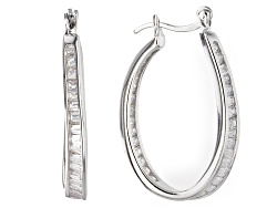 BMC307<br>Bella Luce (R) 3.61ctw Rhodium Over Sterling Silver Hoop Earrings (2.22ctw Dew)