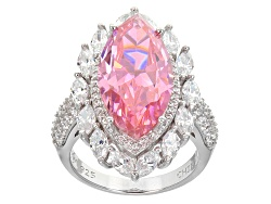 BJO047<br>Bella Luce(R) 17.78ctw Pink And White Diamond Simulants Rhodium Over Sterling Silver Ring