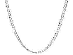 SVR389<br>Sterling Silver 3.5mm Diamond Cut Curb Link 20 Inch Chain Necklace