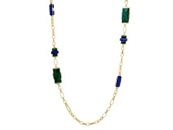 OPJ993N<br>Off Park (R) Collection Green And Blue Resin White Crystal Gold Tone Matte Necklace