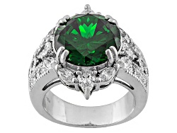 BJO085<br>Bella Luce (R) 11.40ctw Emerald And Diamond Simulants Rhodium Over Sterling Silver Ring