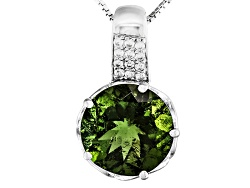 TEH014<br>3.83ct Round Moldavite And .09ctw Round White Zircon Sterling Silver Pendant With Chain