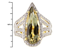 ZLT009<br>6.42ct Pear Shape Zultanite(R) And .59ctw Round White Diamond 18kt Yellow Gold Ring