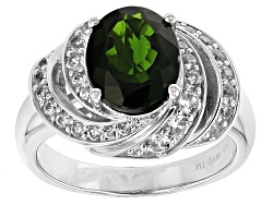 TEH205<br>2.17ct Oval Russian Chrome Diopside With .66ctw White Zircon Sterling Silver Ring