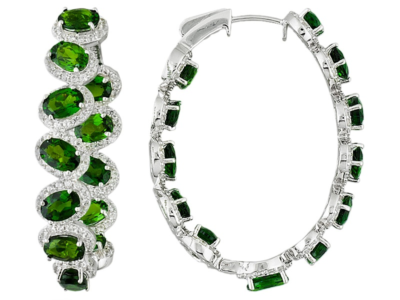 oval chrome diopside and round white