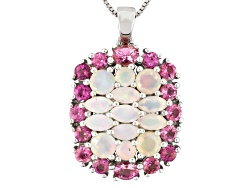 OCH163<br>1.26ctw Marquise & Round Ethiopian Opal, 1.74ctw Round & Oval Pink Tourmaline Silver Penda