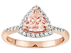 KOT011<br>.76ct Trillion Cor De Rosa Morganite(Tm) And .18ctw Round White Zircon 10k Rose Gold Ring