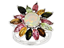 OCH264<br>.63ct Round Ethiopian Opal With 2.72ctw Marquise Green, Yellow And Pink Tourmaline Silver