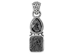 SRA644<br>Artisan Collection Of Bali(Tm) Mixed Shapes Hematine And Carved Quartz Doublets Silver Pen