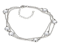 BJO654<br>Bella Luce (R) 10.71ctw Diamond Simulant Round Rhodium Over Sterling Silver Anklet (8.68ct