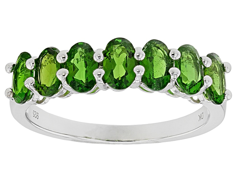 oval russian chrome diopside sterling silver 7