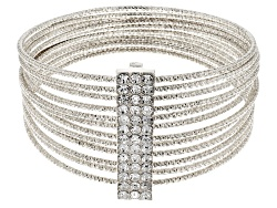 OPJ1063W<br>Off Park (R) Collection White Crystal Silver Tone Multi Bangle Bracelet