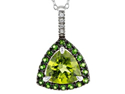 OCH562<br>1.91ct Manchurian Peridot(Tm) With .26ctw Chrome Diopside And White Zircon Silver Pendant