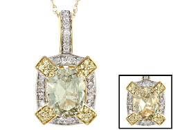 ZUL029P<br>1.00ct Oval Zultanite(R), .10ctw White And .05ctw Yellow Diamond Accent 14k Gold Pendant