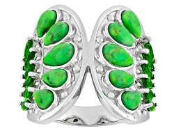 NGH336<br>Pear Shape Green Turquoise With 1.08ctw Marquise Russian Chrome Diopside Sterling Silver R