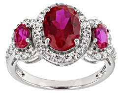 NGH354<br>2.46ctw Oval Lab Created Ruby With .75ctw Round White Zircon Sterling Silver Ring