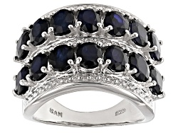 NGH387<br>5.46ctw Oval Blue Sapphire Sterling Silver Band Ring