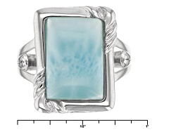 DJH163<br>14x10mm Rectangular Cushion Cabochon Larimar Sterling Silver Solitaire Ring