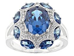 DOCKZ6<br>Bella Luce(R)5.10ctw London Blue Topaz And White Diamond Simulants Rhodium Over Sterling S