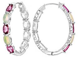 DJH296<br>1.98ctw Pink Tourmaline,.84ctw Ethiopian Opal, 4.80ctw White Zircon Silver In/Out Hoop Ear