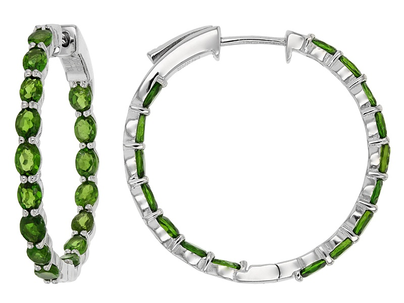 oval russian chrome diopside sterling silver hoop